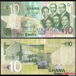 GHANA - Billet de 10 Cedis - Big Six' (six dirigeants du Ghana) - 2015 P39f