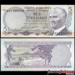 TURQUIE - Billet de 5 Livre turque - Chutes d'eau de Manavgat - 1968 P179a