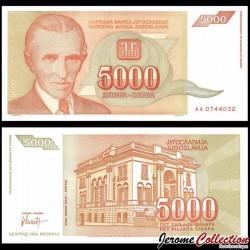 YOUGOSLAVIE - Billet de 5000 Dinara - Nikola Tesla - 1993 P128a