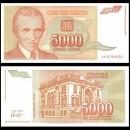 YOUGOSLAVIE - Billet de 5000 Dinara - Nikola Tesla - 1993
