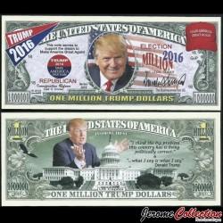 ETATS-UNIS - Billet de 1 Million TRUMP DOLLARS - Election Présidentielle US - 2016