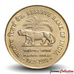 INDE - PIECE de 5 ROUPIES - Jubilé de Platine de la Banque Royale d'Inde - 2010 Km#387