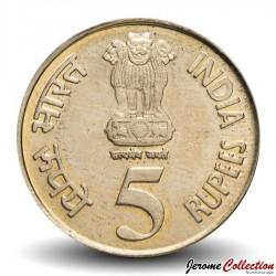 INDE - PIECE de 5 ROUPIES - Jubilé de Platine de la Banque Royale d'Inde - 2010