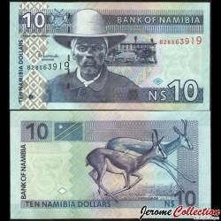 NAMIBIE - Billet de 10 Dollars - Capitaine Hendrik Witbooi - Springbok - 2001 P4c
