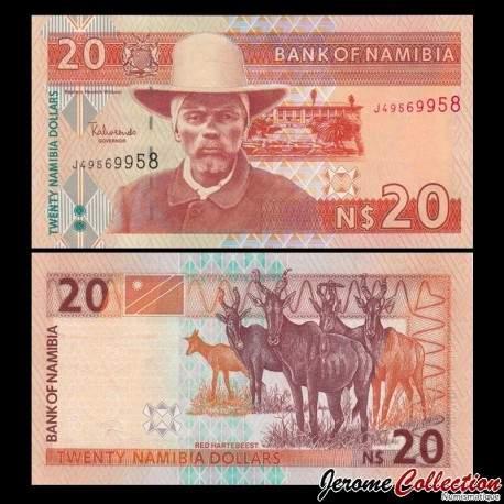 NAMIBIE - Billet de 20 Dollars - Capitaine Hendrik Witbooi - Bubale roux - 2002 P6a