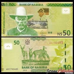NAMIBIE - Billet de 50 Dollars - Capitaine Hendrik Witbooi - Kudu - 2016 P13b