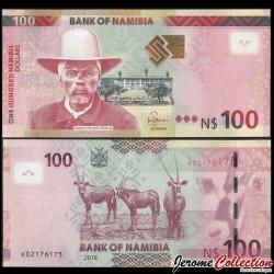 NAMIBIE - Billet de 100 Dollars - Capitaine Hendrik Witbooi - Oryx - 2018 P14b