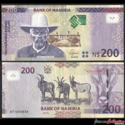 NAMIBIE - Billet de 200 Dollars  - Capitaine Hendrik Witbooi - Antilopes rouanne - 2015