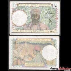 AFRIQUE OCCIDENTALE FRANÇAISE - Billet de 5 Francs - 6.5.42 P25a.3
