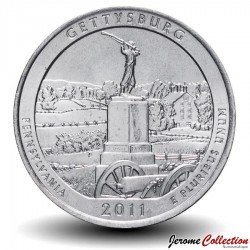 ETATS UNIS / USA - PIECE de 25 Cents - America the Beautiful - Gettysburg National Military Park - 2011 - P Km#494