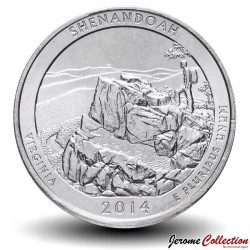 ETATS UNIS / USA - PIECE de 25 Cents - America the Beautiful - Parc national de Shenandoah - 2014 - D Km#567