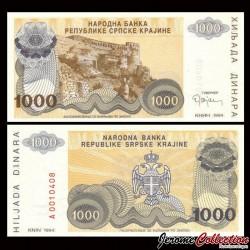 CROATIE / KRAJINA - BILLET de 1000 Dinars - Forteresse de Knin - 1994 PR30a