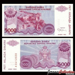 CROATIE - BILLET de 5000 Dinars - Forteresse de Knin - 1993 PR20a