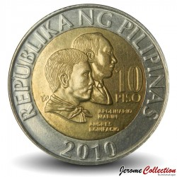 PHILIPPINES - PIECE de 10 Piso - Apolinario Mabini et Andres Bonifacio - 2010 Km#278