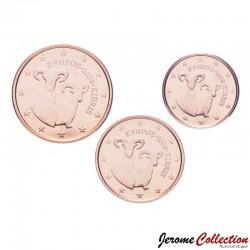 CHYPRE - SET / LOT de 3 PIECES de 1 2 5 Cents - Mouflon - 2009 Km#78 79 80