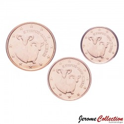 CHYPRE - SET / LOT de 3 PIECES de 1 2 5 Cents - Mouflon - 2009