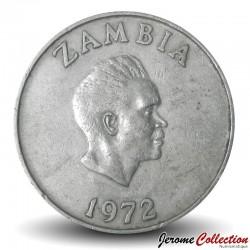 ZAMBIE - PIECE de 10 Ngwee - Calao couronné - 1972