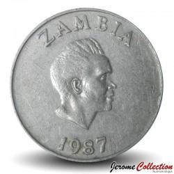ZAMBIE - PIECE de 10 Ngwee - Calao couronné - 1987