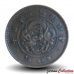 JAPON - PIECE de ½ sen - Empereur Meiji - Dragon - 1876 Y#16.1