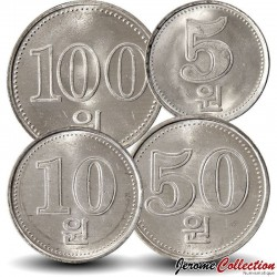 COREE DU NORD - SET / LOT de 4 PIECES de 5 10 50 100 CHON - 2005 Km#425 426 427 1015