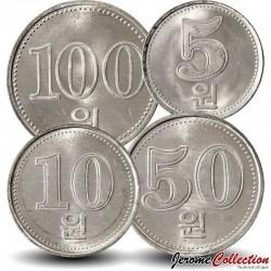 COREE DU NORD - SET / LOT de 4 PIECES de 5 10 50 100 CHON - 2005 Km#425 426 427 1015