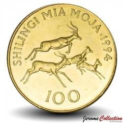 TANZANIE - PIECE de 100 Shilingi - Antilopes Impalas - 1994 Km#32