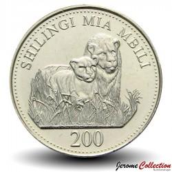 TANZANIE - PIECE de 200 Shilingi - Un lion et son lionceau - 2008 Km#34