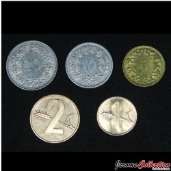 SUISSE - SET / LOT de 5 PIECES de 1 2 5 10 20 Centimes - 1973 1974 1983