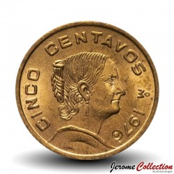 MEXIQUE - PIECE de 5 Centavos - Josefa Ortiz de Domínguez - 1976 Km#427