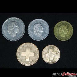 SUISSE - SET / LOT de 5 PIECES de 1 2 5 10 20 Centimes - 1973 1974 1983 Km#26 27 29 46 47