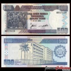 BURUNDI - Billet de 500 Francs - 2003 P38c