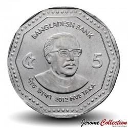 BANGLADESH - PIECE de 5 Taka - Sheikh Mujibur Rahman - 2012 Km#33