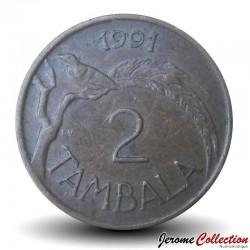 MALAWI - PIECE de 2 Tambala - Oiseau de paradis / President Dr. Hastings Kamuzu Banda - 1991 Km#8.2a