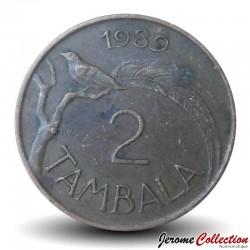 MALAWI - PIECE de 2 Tambala - Oiseau de paradis / President Dr. Hastings Kamuzu Banda - 1989 Km#8.2a