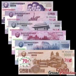 COREE DU NORD - SET / LOT de 6 Billets de 50 200 500 1000 2000 5000 Won - 70 ans des relations Sino-Coréennes - 2018/2019