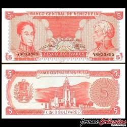 VENEZUELA - Billet de 5 Bolivares - Simón Bolívar, Francisco de Miranda - 1989 P70a