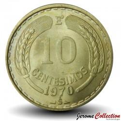 CHILI - PIECE de 10 Centimos - Condor des Andes - 1970