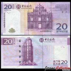MACAO - Billet de 20 Patacas - Ruine de la cathédrale de São Paulo - 2008 P109a