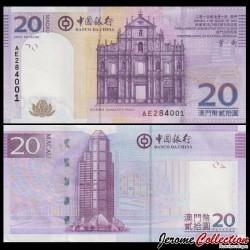MACAO - Billet de 20 Patacas - Ruine de la cathédrale de São Paulo - 2013 P109b1