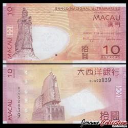 MACAO - Billet de 10 Patacas - Statue A-ma Goddess - 08.08.2010 P80b