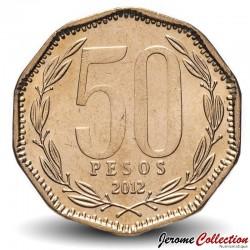 CHILI - PIECE de 50 Pesos - Bernardo O'Higgins Riquelme - 2012 Km#219