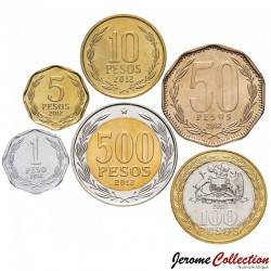 CHILI - SET / LOT de 6 PIECES de 1 5 10 50 100 500 Pesos - Bimétallique- 2011 / 2012