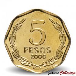 CHILI - PIECE de 5 Peso - Bernardo O'Higgins Riquelme - 2000 Km#232