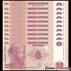 CONGO - Lot de 10 BILLETS de 50 Francs - HM - 2013 P97A
