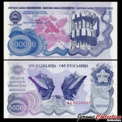 YOUGOSLAVIE - Billet de 500 000 Dinara - Monument aux partisans - 1989 P98a