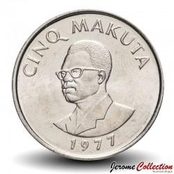 ZAIRE - PIECE de 5 Makuta - Buste de Joseph Désiré Mobutu - 1977 Km#12