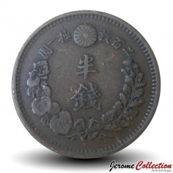 JAPON - PIECE de ½ sen - Empereur Meiji - Dragon - 1884