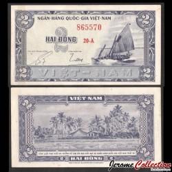 SUD VIETNAM - Billet de 2 DONG - Jonque - 1955 P12a