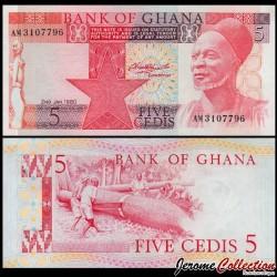 GHANA - Billet de 5 Cedis - Viel homme - 1980 P19b