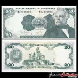 VENEZUELA - Billet de 20 Bolivares - José Antonio Paéz - 08.12.1992 P63d